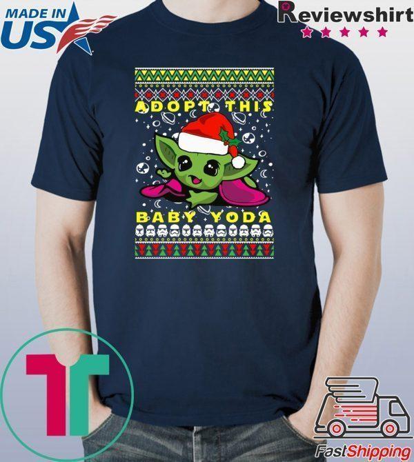 Adopt This Baby Yoda Santa Hat Ugly Christmas Shirt