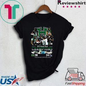 2019 Hawaii Bowl Champions Players Signatures Tee Shirts
