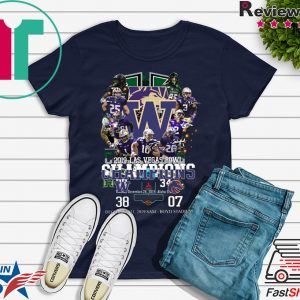 2019 Las Vegas Bowl Champions Players Signatures Tee Shirts