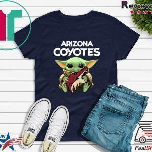Baby Yoda Hug Arizona Coyotes Tee Shirts
