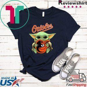Baby Yoda Hug Baltimore Orioles Tee Shirts