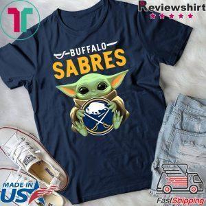 Baby Yoda Hug Buffalo Sabres Logo Tee Shirt