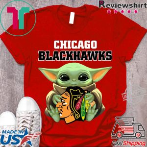 Baby Yoda Hug Chicago Blackhawks Logo Shirt