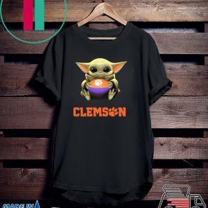 Baby Yoda Hug Clemson Ball Tee Shirts