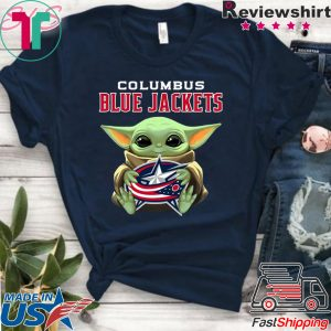 Baby Yoda Hug Columbus Blue Jackets Logo Tee Shirts