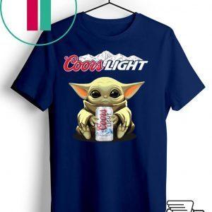 Baby Yoda Hug Coors Light Tee Shirts