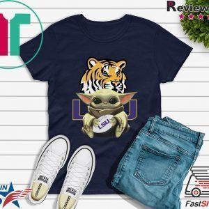 Baby Yoda Hug LSU Tigers Tee Shirt