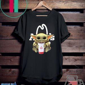 Baby Yoda hug Arby's Tee Shirt