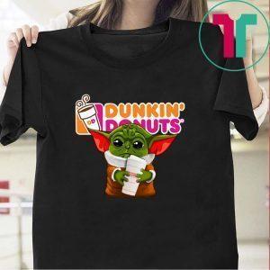 Baby Yoda hug Dunkin' Donuts Tee Shirt