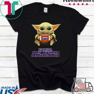 Baby Yoda hug Florida Atlantic Tee Shirt