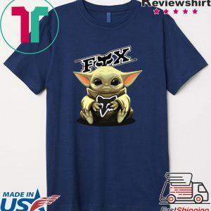Baby Yoda hug Fox Racing Mandalorian Tee Shirt