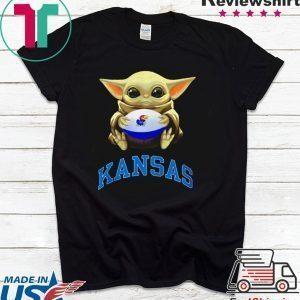 Baby Yoda hug Kansas Jayhawks Tee Shirt