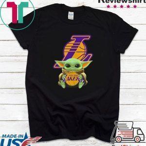 Baby Yoda hug Los Angeles Lakers Shirt