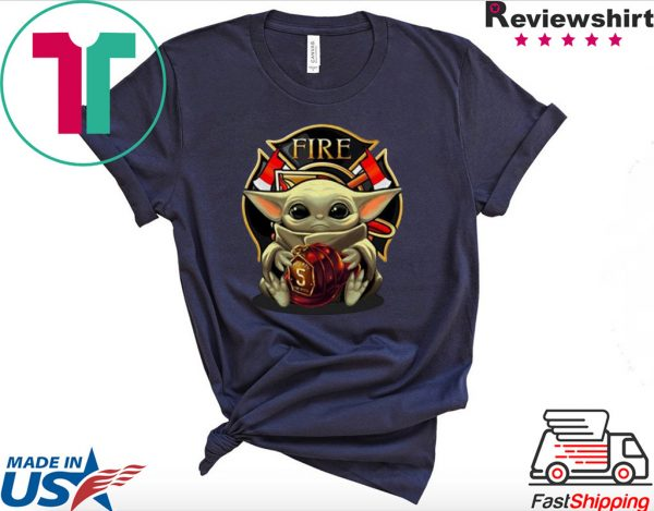 Baby Yoda hug firefighter captain hat Star Wars Tee Shirt