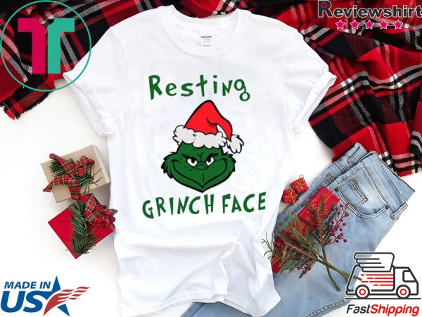 Resting Grinch Face With Santa Hat Tee Shirt