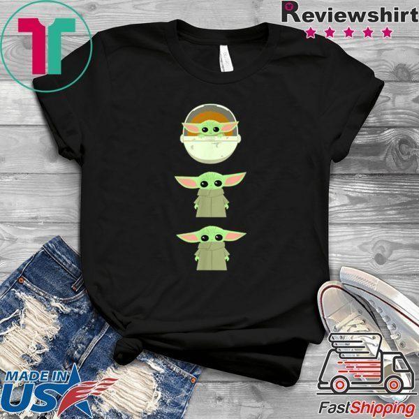 Star Wars Mandalorian Baby Yoda Cartoon Poses Tee Shirt