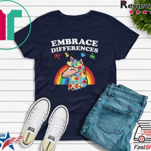 Autism Awareness Embrace Differences Llama Shirt Boy Girl Tee Shirts