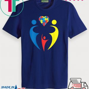 Autism Awarness Family Trio Heart Puzzle Gift Design Tee Shirts
