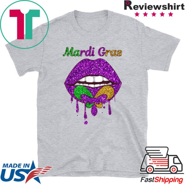 Mardi Gras Lip Biting Diamong Shining Tee Shirts