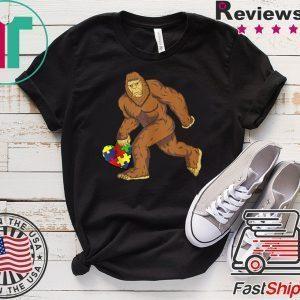 Autism Awareness Bigfoot Heart Puzzle Piece Tee Shirts
